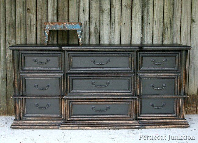 Pottery Barn Knock-Off   Black Dresser With Graduated Distressing