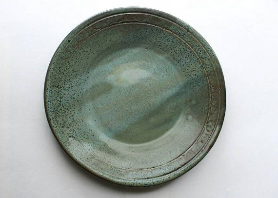Check out this item in my Etsy shop https://www.etsy.com/ca/listing/292833687/green-and-blue-speckle-dinner-plate-95