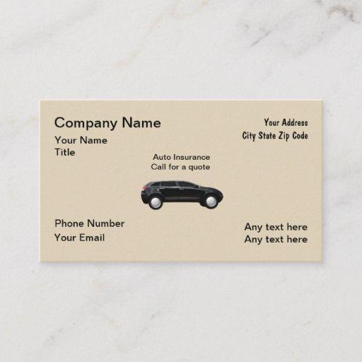 Auto Insurance Agent Business Card Zazzle Com In 2020