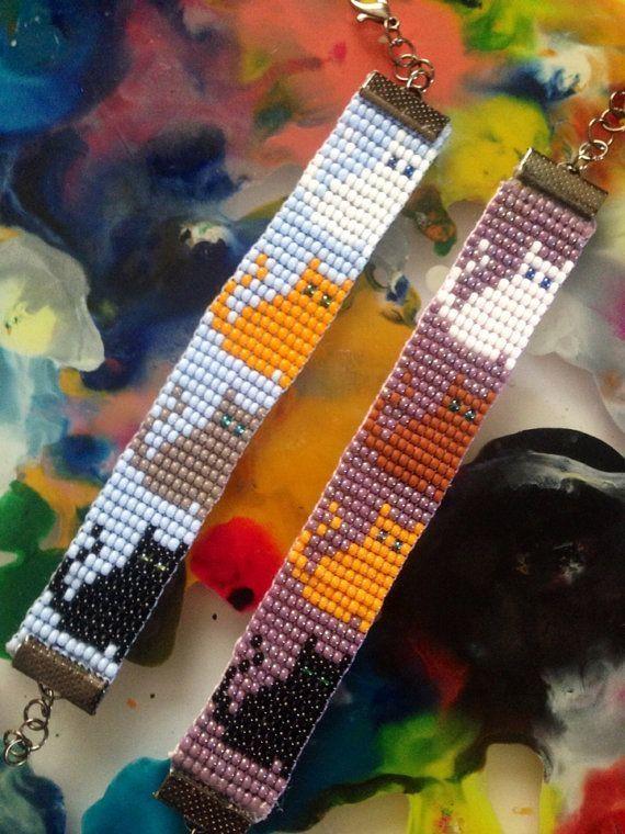 Cat bead loom bracelet by sherry leger
