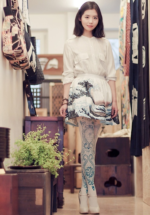 Nancy Zhang (The Sea of Fertility) - Zara shirt, SYM skirt, Topshop heels, and Bebaroque tights.