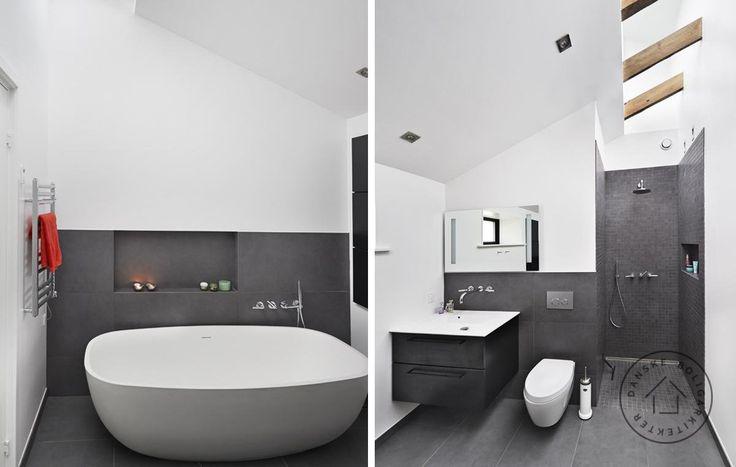 Parcelhusbad med højt til loftet Et trist og lavloftet typehus blev totalombygget af arkitekt Anette Meldgaard.