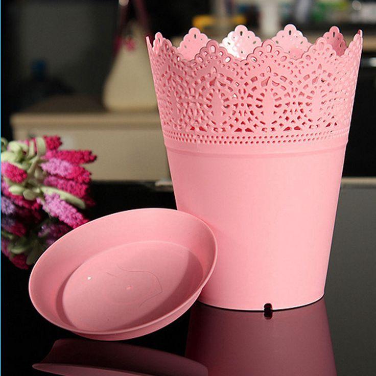 Purple Plastic Crown Lace Flower Pot Plant Planter Home Office Garden Decor - Walmart.com