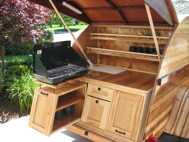 8 best single axle trailer homes images on pinterest for Teardrop camper kitchen ideas