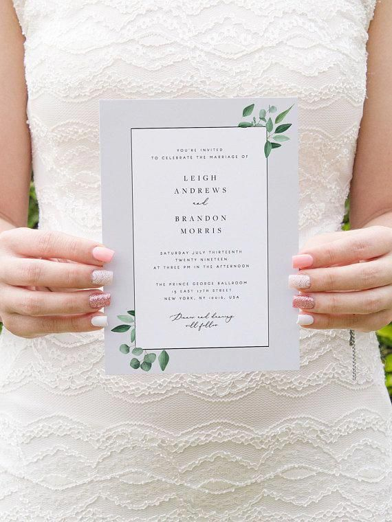 Leaf Wedding Invitation Set Template Eucalyptus Wreath Printable Wedding Invitation Suite DIY Templett PDF Instant Download Editable 26