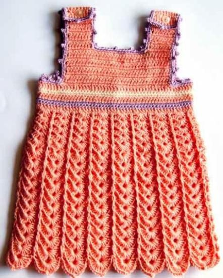 Vestido de bebe hecho a ganchillo con hilo perl 100 - Labores de crochet para bebes ...