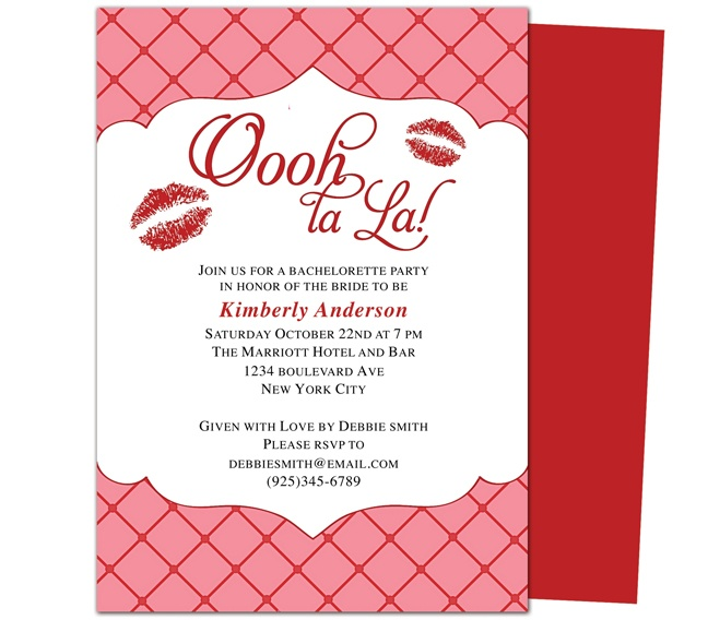 Printable Bachelorette Invitations Party Templates : Kisses Bachelorette Party Invitation Template. Lip smacked kisses accent this unique bachelorette party invitation template design bordered with contemporary brackets and checked background.
