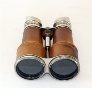 binoculars. promo poster could be just vintage item like this with just text below it