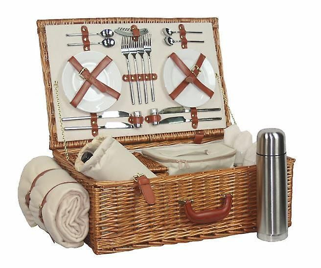 Deluxe Fully Fitted 4 Person Traditional Picnic Basket | Fruugo