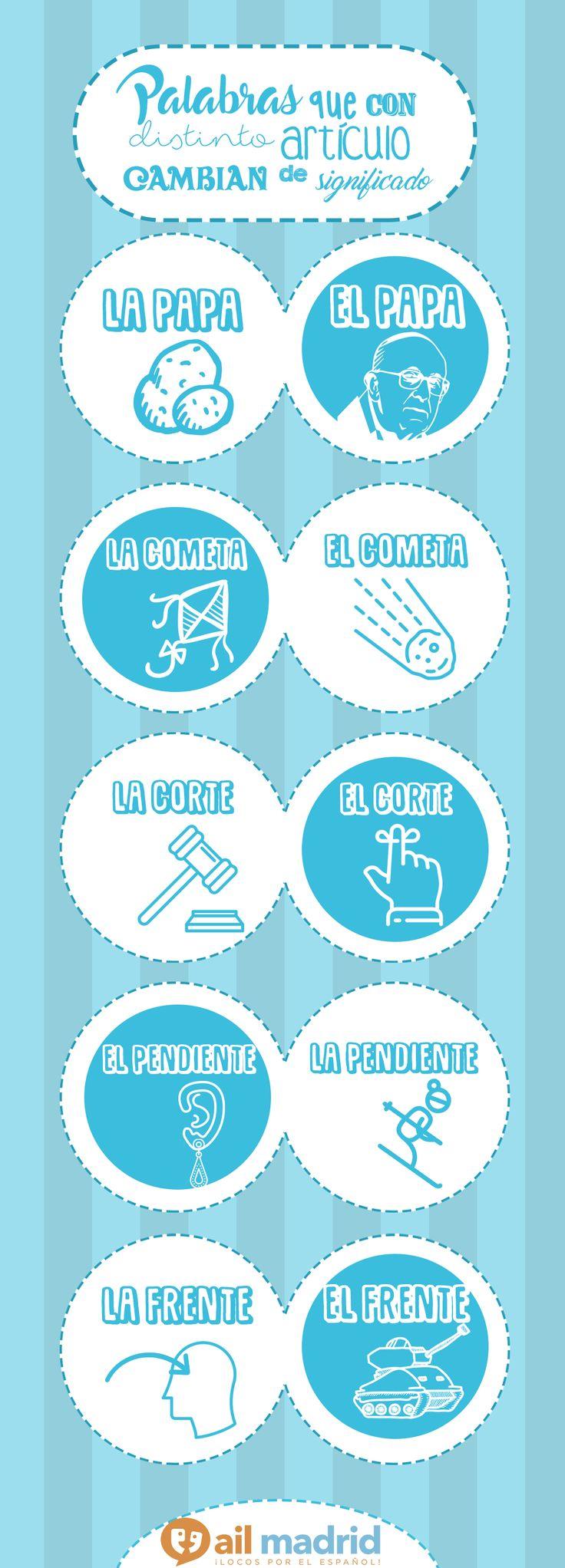 ¿No es curioso cómo el #significado de estas #palabras puede cambiar totalmente dependiendo de su #artículo? // Isn't it #interesting how the #meaning of these words can change depending on their #articles? #AIL #education #Spanish #vocabulary
