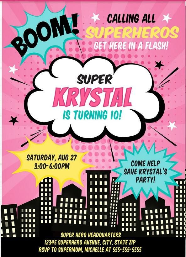 free printable girl superhero invitation template