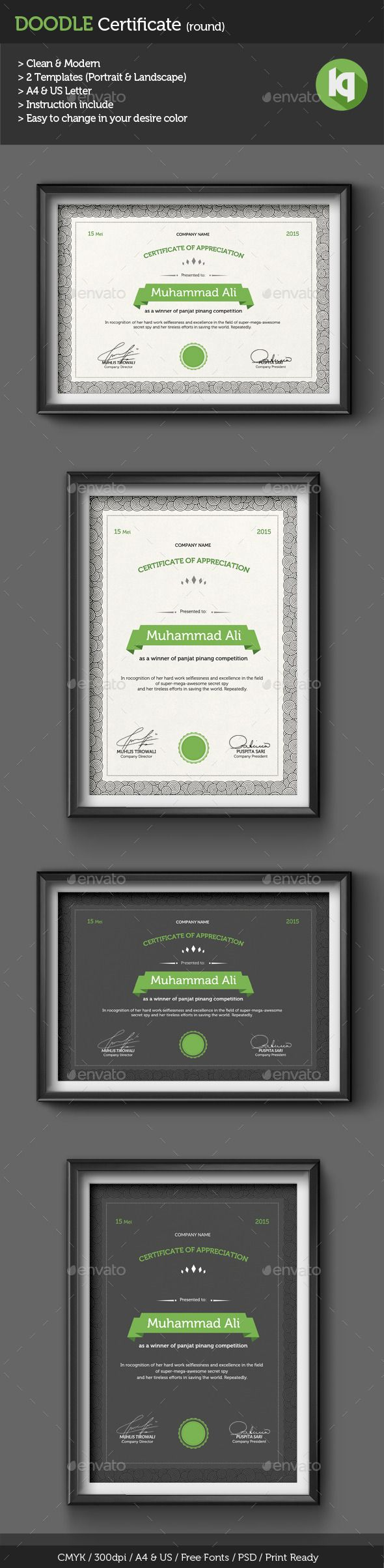 Doodle Certificate A4 & US Template PSD. Download here: http://graphicriver.net/item/doodle-certificate-template-round/10440766?ref=ksioks