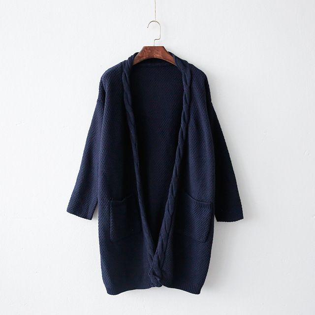Azul marino borgoña del bolsillo del doble Knited Cardigan mujeres suéter Casual Crochet Poncho capa mujeres suéteres largos…