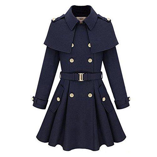 zicac women 39 s poncho topcoat winter double breasted coat hood parka overcoat l us2 blue zicac. Black Bedroom Furniture Sets. Home Design Ideas