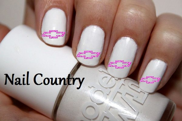"""#NAILS #SALE #COUPONCODE """"PINTREST """" 15% OFF UR ORDER 50pc Pink Camo Chevy Bowties Nail Decals Nail Art Nail Stickers Best Price NC320"""
