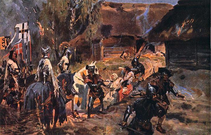 """Wojciech Kossak - Apostolstwo krzyżackie (z cyklu """"Duch pruski""""), 1909"""