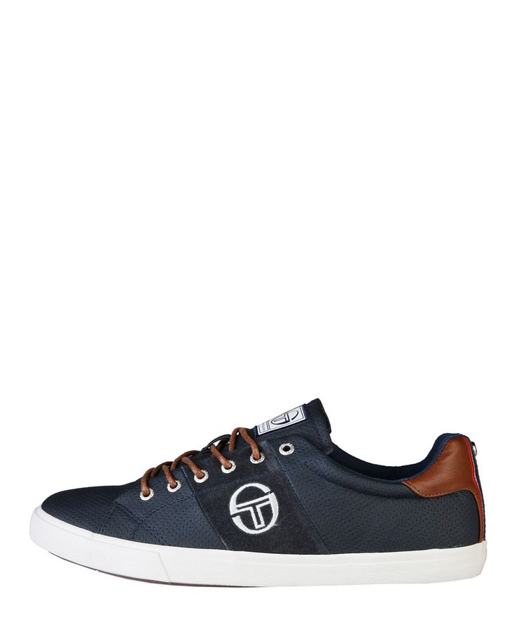 Sneakers low top lace-up, upper: leather and synthetic material, cushioned insole fabric and rubber sole - inside: fabri - Sneaker men Blue