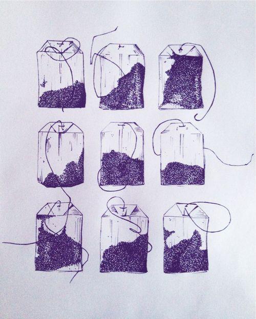 Illustrated teabags