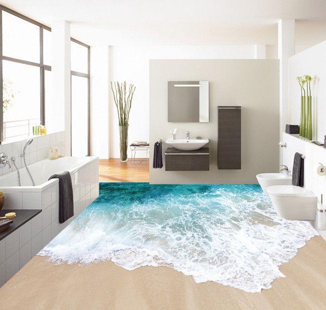... intérieur revêtement de sol vinyle PVC sur mesure paysage de la mer