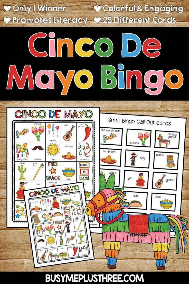 CINCO DE MAYO BINGO Game Activity {25 Different Bingo