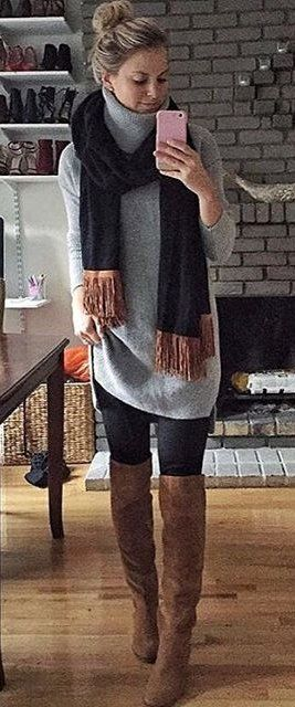 #winter #fashion /  Grey Oversized Turtleneck + Black Scarf