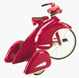 """Skyking Tricycle - Great Holiday Gift by airflowinc. $279.00. These beautiful 1936 replicas are a collectible for years to come, with the original Sky King trikes selling for over $3000, these great looking trikes are now affordable for the whole family and the future collectors of the replicas.Made of high quality steel and identical in every way to the Sky King of old. 26"""" High - Beautiful Red Powder Coat with Chrome insigniasSolid Rubber TiresAdjustable Spring Sea..."""