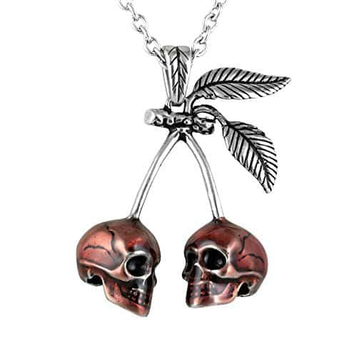 Red Cherry Skull Pendant Stainless Steel