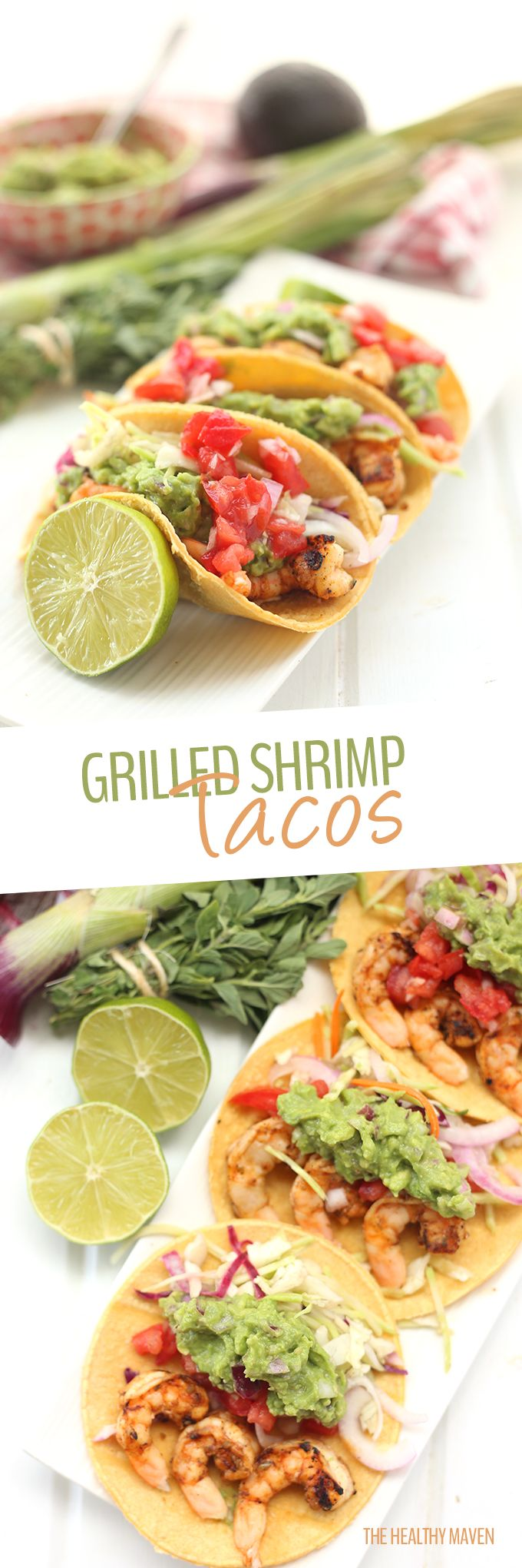 Summer calls for grills, shrimp and tacos galore! Make it Mexican night with these Spicy Grilled Shrimp Tacos with all the fixins for your next summer bbq or party! No one will believe you that they're healthy too!