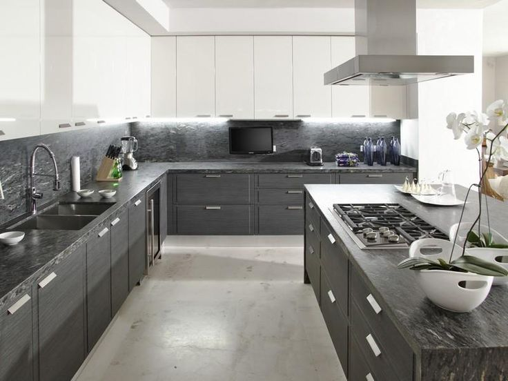 Graphite grey and white are such a great combination in this sleek modern kitchen.   (Casa Almare in Puerto Vallarta, Mexico)
