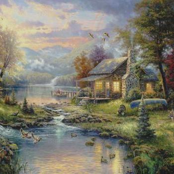 Thomas kinkade natures paradise cross stitch pattern l for Modern homesteading