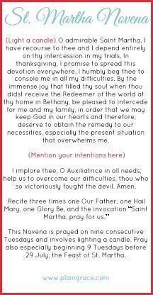 St Martha Novena Prayer