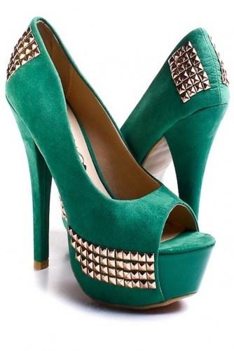 My fave color + studs <3 <3<3Pumps Heels, Studs Heels, Peeptoe Pump, Green Faux, Green Studs, High Heels, Faux Suede, Pump Heels, Shoes Heels