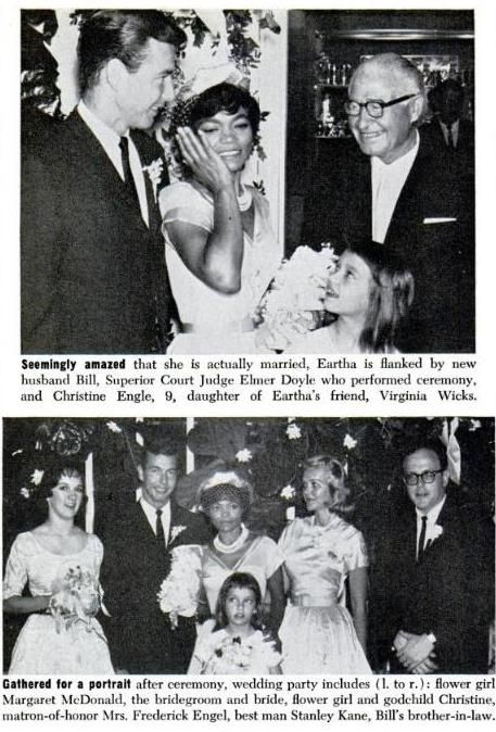 Eartha Kitt married real estate investor, John William McDonald, in 1960 and they had one child, daughter Kitt McDonald, born November 26, 1961. However, the couple divorced in 1965,