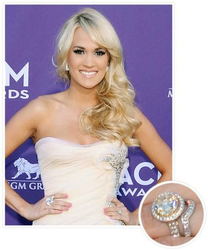 The biggest celebrity engagement rings: Carrie Underwood and Mike Fisher.