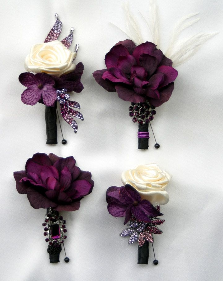 Items similar to Purple boutonniere. Jeweled wedding boutonniere. Made to order on Etsy
