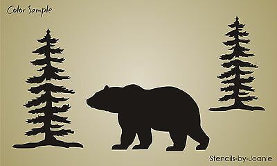 Stencil Rustic Bear Paw Print Animal Track Cabin Lodge Outdoor Mountain Country