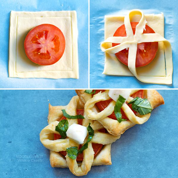 Puff pastry appetizers ideas, for an original and yummy buffet! Finger food recipes (vegetarian, gluten free, smoked salmon, mushrooms and meat...) // party recipe ideas, christmas menu, caprese, savory mini tart, puff pastry cannoli // Antipasti con pasta sfoglia veloci e originali, per ogni ospite! // menù di natale, ricette per feste, facile e veloce, tutorial