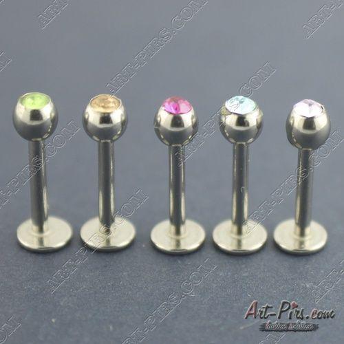 Металлический лабрет с кристаллом.