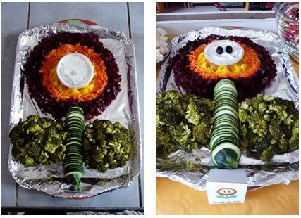 repas anniversaire enfant mario kart : fleur de feu crudités