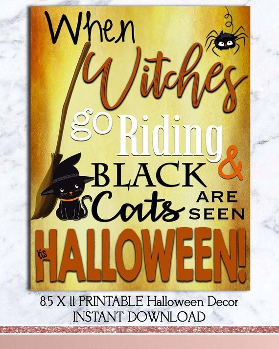 Witches Black Cats Halloween Decor Printable Instant
