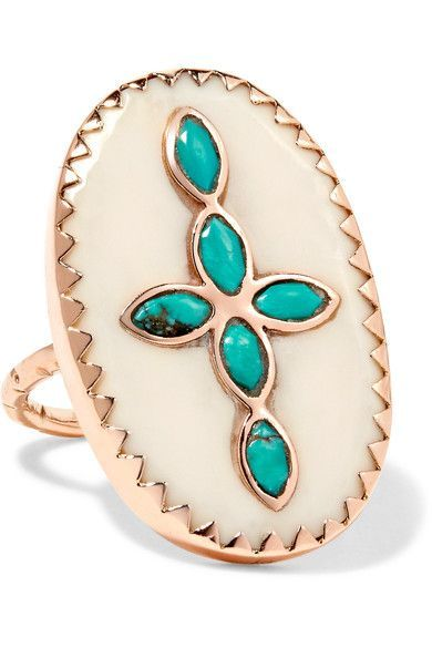 Pascale Monvoisin | Bowie 9-karat rose gold, turquoise and resin ring | NET-A-PORTER.COM