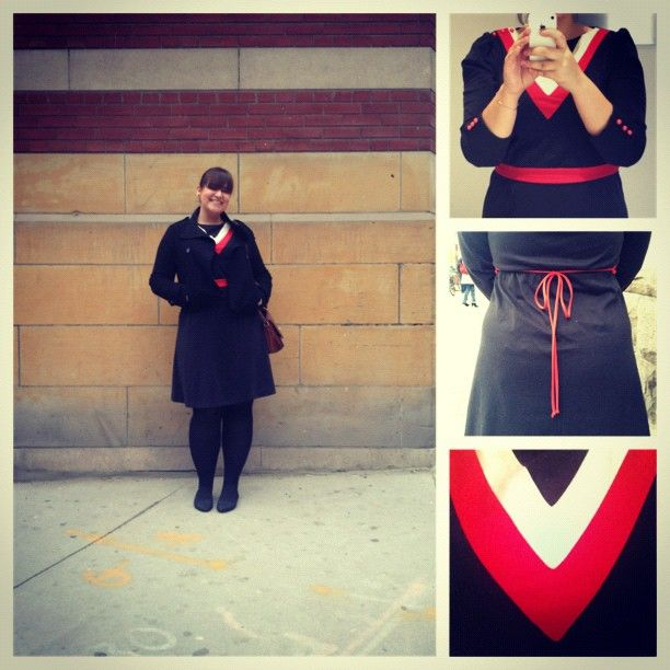 #Vintage dress (that looks like I'm about to be convocated) from #KensingtonMarket. #whatiwore #dailyoutfit #ootd