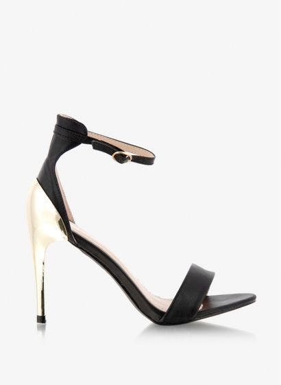 Czarne sandały ze złotym obcasem - DeeZee