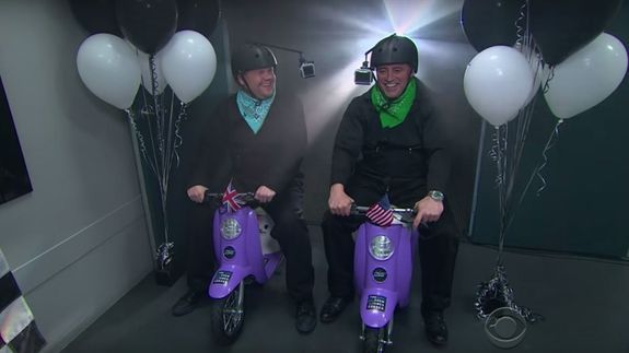 Matt LeBlanc and James Corden race each other on teeny, tiny children's scooters - http://www.baindaily.com/matt-leblanc-and-james-corden-race-each-other-on-teeny-tiny-childrens-scooters/