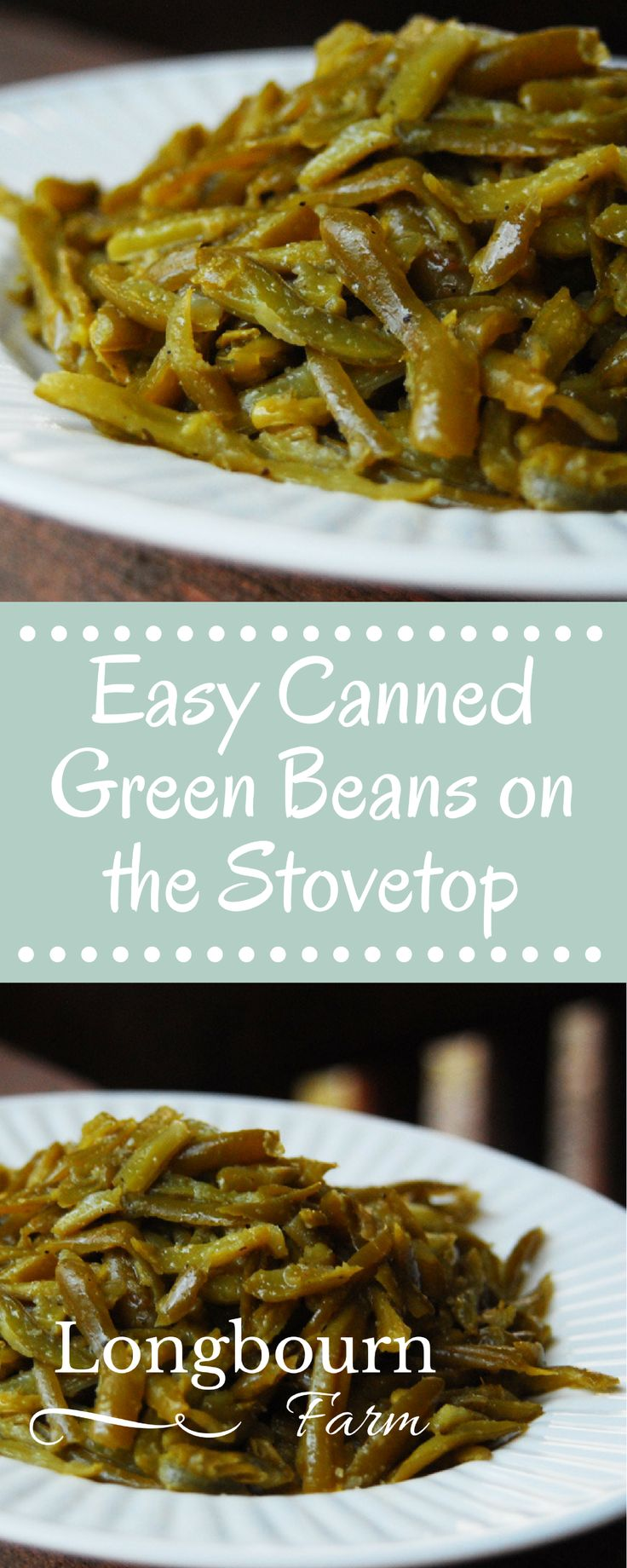 This easy canned green bean recipe is a delicious way to use those green beans in your pantry! Making green beans from a can can be delicious!! Try it today