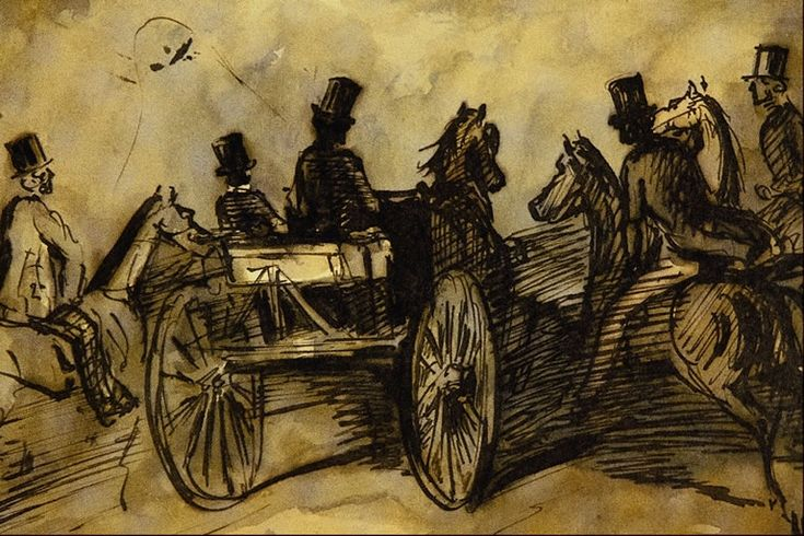 Carriage and Three Gentlemen on Horses Artist: Constantin Guys