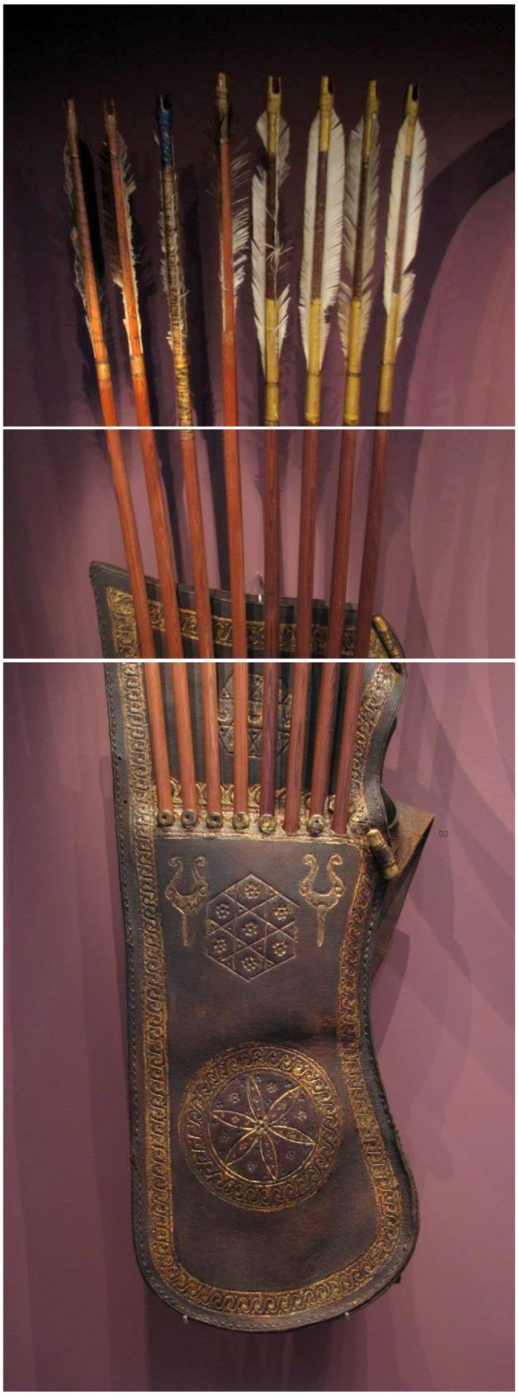 17. yüzyıl Osmanlı tirkeş ve oklar, Nürnberg, Almanya 17th century Ottoman quiver and arrows, Nürnberg, Germany