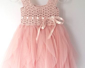 Baby Tulle Dress with   Stretch Crochet Top and by AylinkaShop