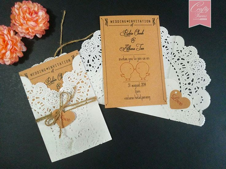 wedding card printing with doilies paper and brown string