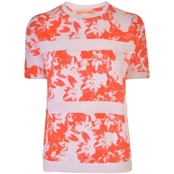 BOSS ORANGE Tabloom Sweatshirt ($130) ❤ liked on Polyvore featuring tops, hoodies, sweatshirts, crew top, pink crew neck sweatshirts, pink crewneck sweatshirt, boss orange and pink top